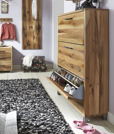 schuhschrank eiche rockit garderobe 3 klappen eiche und stahl pickupm. Black Bedroom Furniture Sets. Home Design Ideas