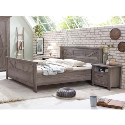 Bett Landhausstil modern 180x200 cm braun Kiefer Baltic