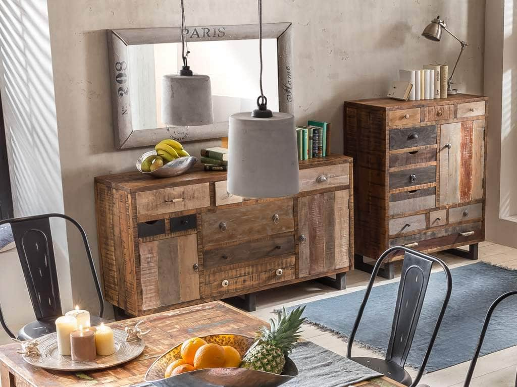 sideboard mangoholz industrial chic sideboard aus altem holz kommoden u sideboards mbel bei. Black Bedroom Furniture Sets. Home Design Ideas