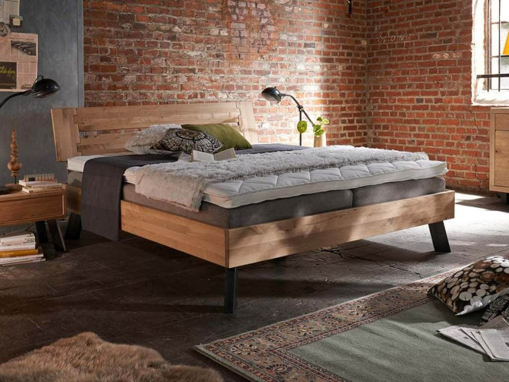 bett eiche massiv stahlf e modern sleep 2 pickupm. Black Bedroom Furniture Sets. Home Design Ideas
