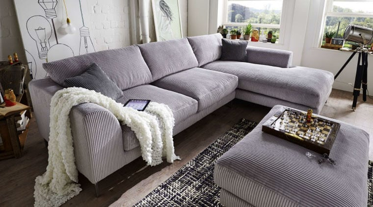 ecksofa reno mit hocker cordbezug pick up m bel. Black Bedroom Furniture Sets. Home Design Ideas