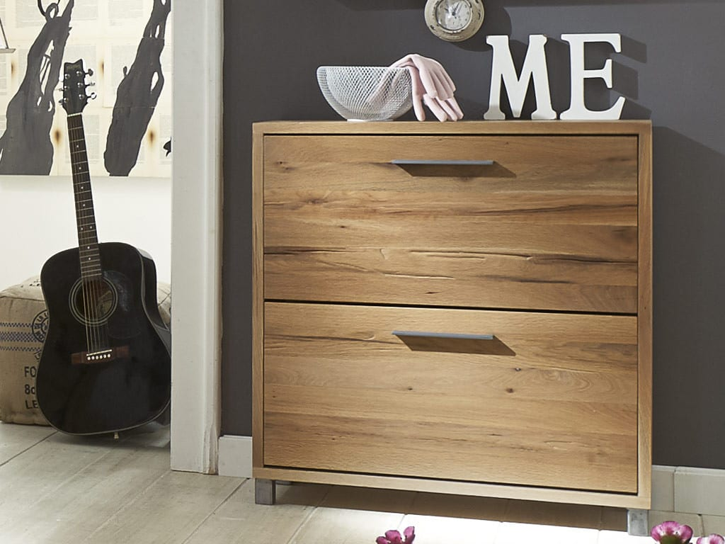 schuhschrank aus rustikaler balkeneiche 2 klappen 0 versand pickupm. Black Bedroom Furniture Sets. Home Design Ideas