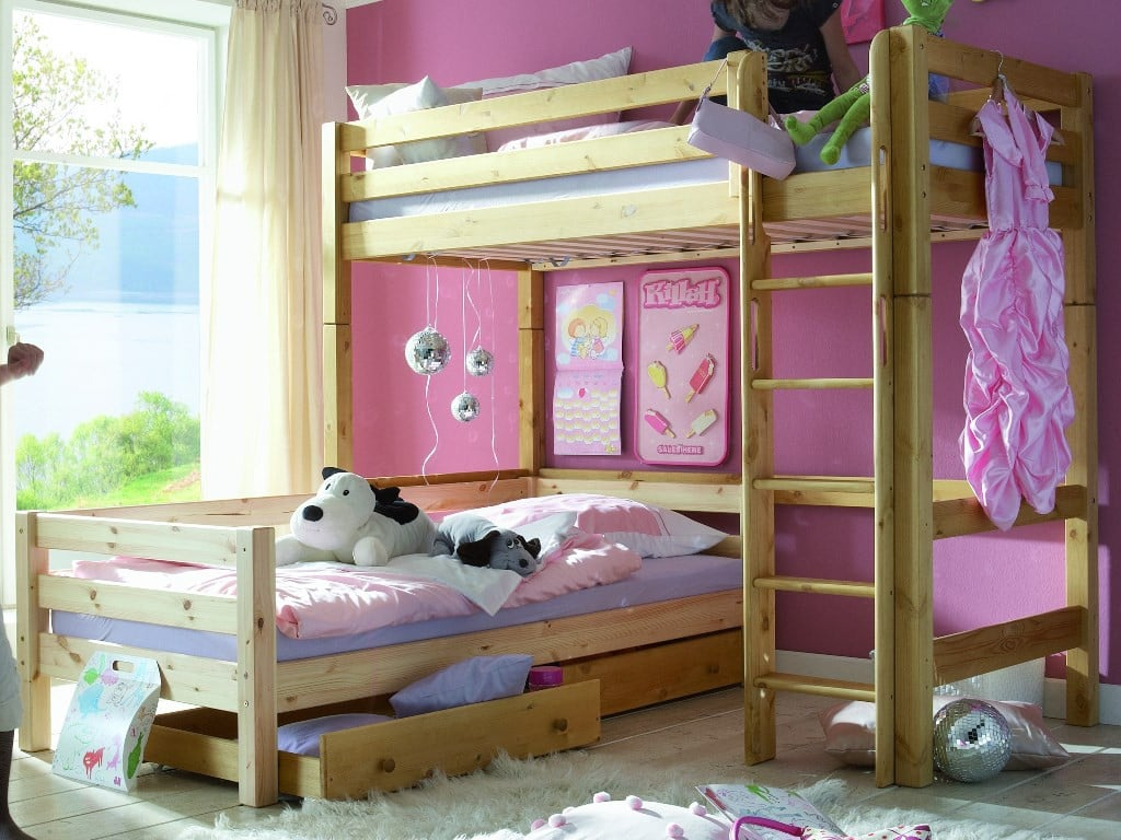 etagenbett l form infanskids kiefer massiv t v gs pick up. Black Bedroom Furniture Sets. Home Design Ideas