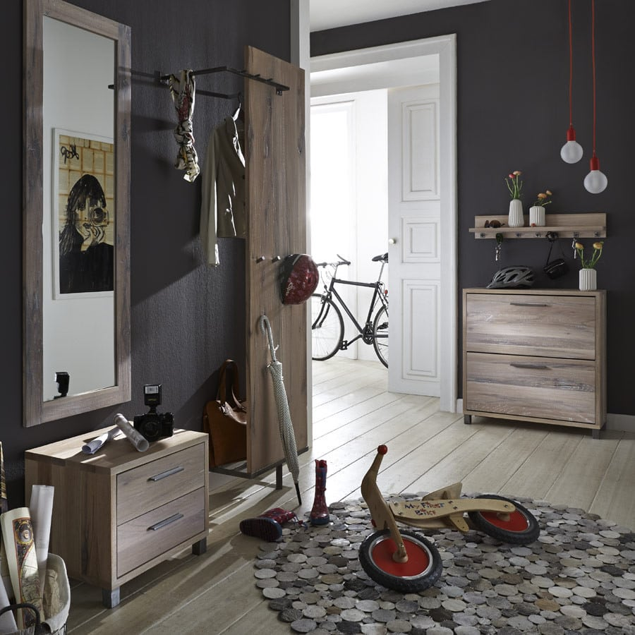 paneel eiche rockit garderobe mit kleiderstange massiv. Black Bedroom Furniture Sets. Home Design Ideas