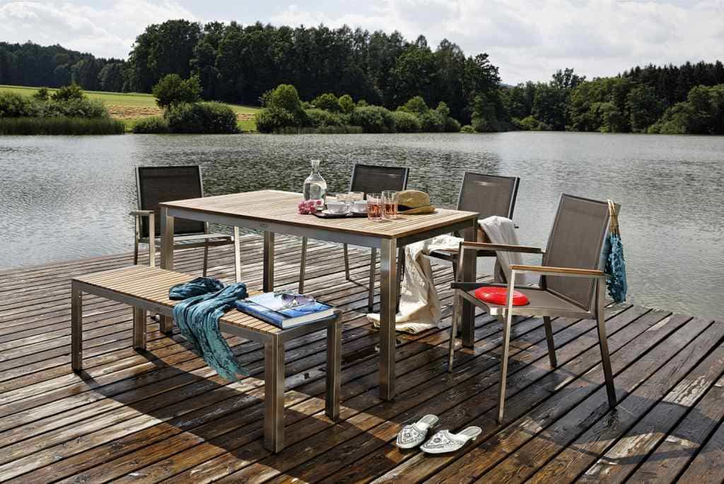 gartentisch edelstahl teak san remo online bestellen pick up m bel. Black Bedroom Furniture Sets. Home Design Ideas