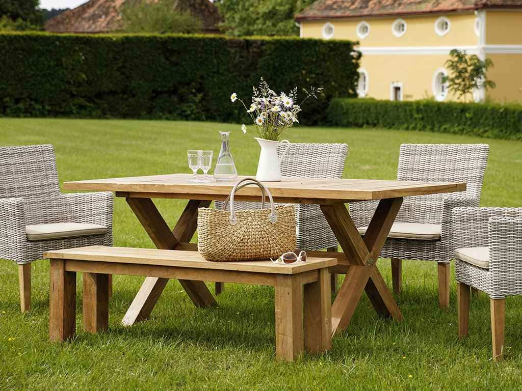 gartentisch teak 240x100cm boulogne natur oder seawash. Black Bedroom Furniture Sets. Home Design Ideas