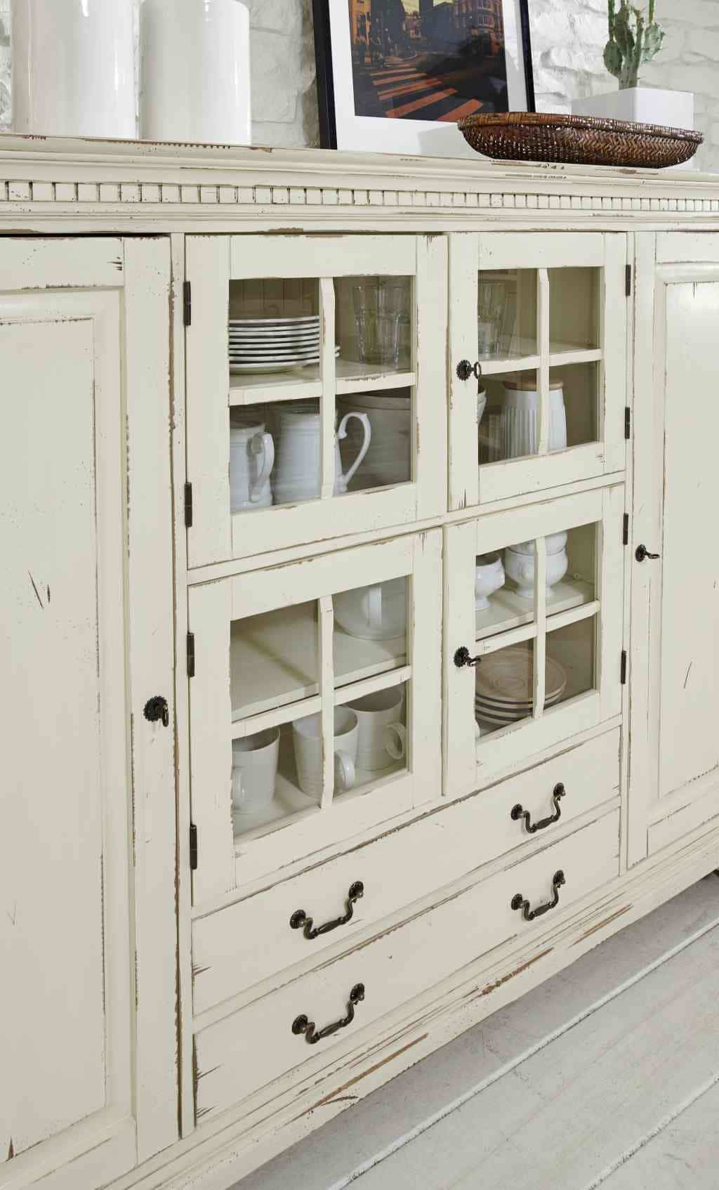 highboard massiv york shabby chic cremeweiss patiniert. Black Bedroom Furniture Sets. Home Design Ideas