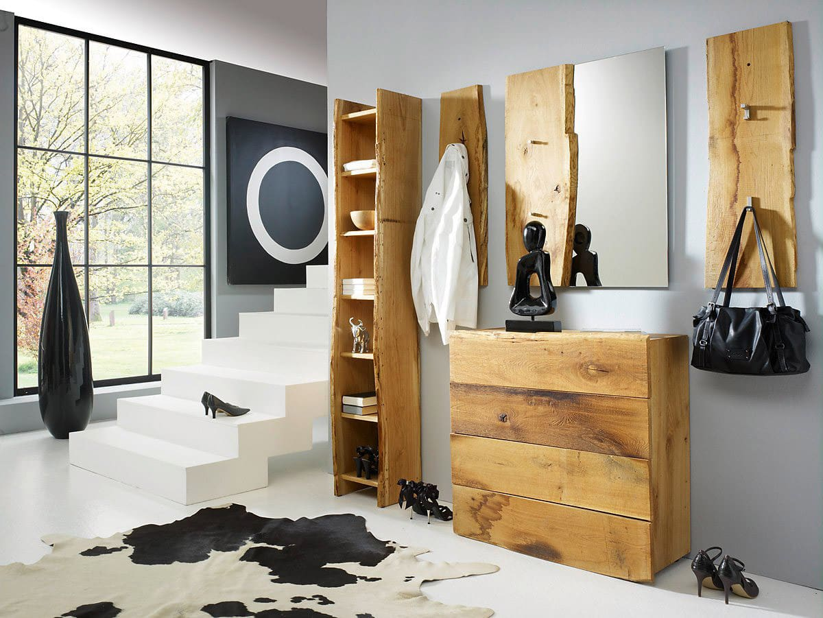 wandgarderobe eiche woodline massiv f r flur g nstig. Black Bedroom Furniture Sets. Home Design Ideas