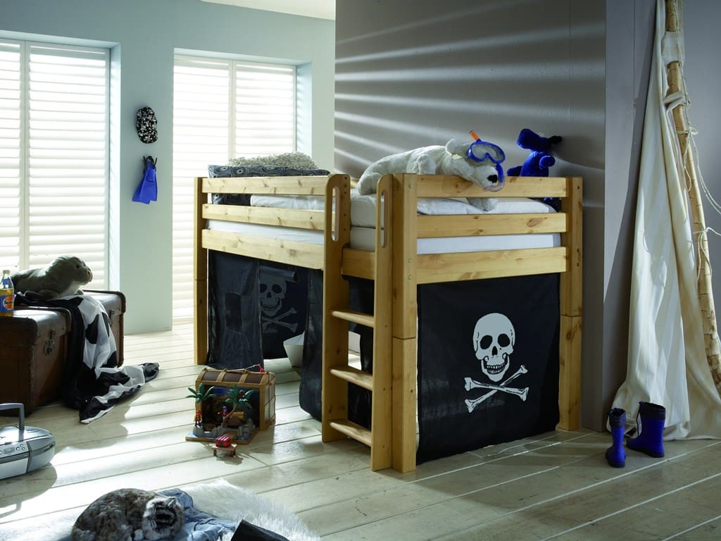 kinder hochbett kiefer massiv gelaugt leiter pick up m bel. Black Bedroom Furniture Sets. Home Design Ideas