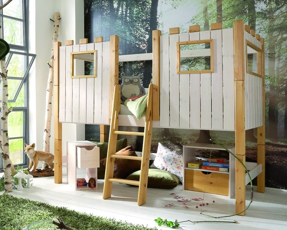 kinderhochbett ritterburg infanskids halbhoch teilbar komplett pick up m bel. Black Bedroom Furniture Sets. Home Design Ideas