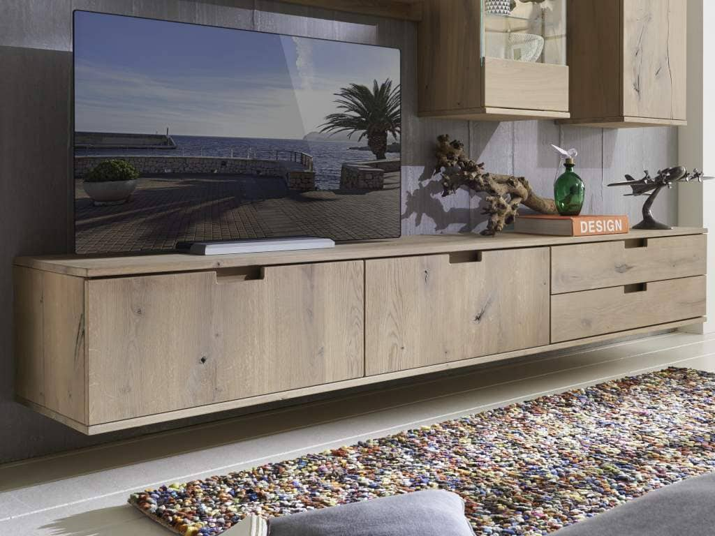 tv lowboard massiv holz mit 2 schubladen und 2 klappen bestellen pick up m bel. Black Bedroom Furniture Sets. Home Design Ideas