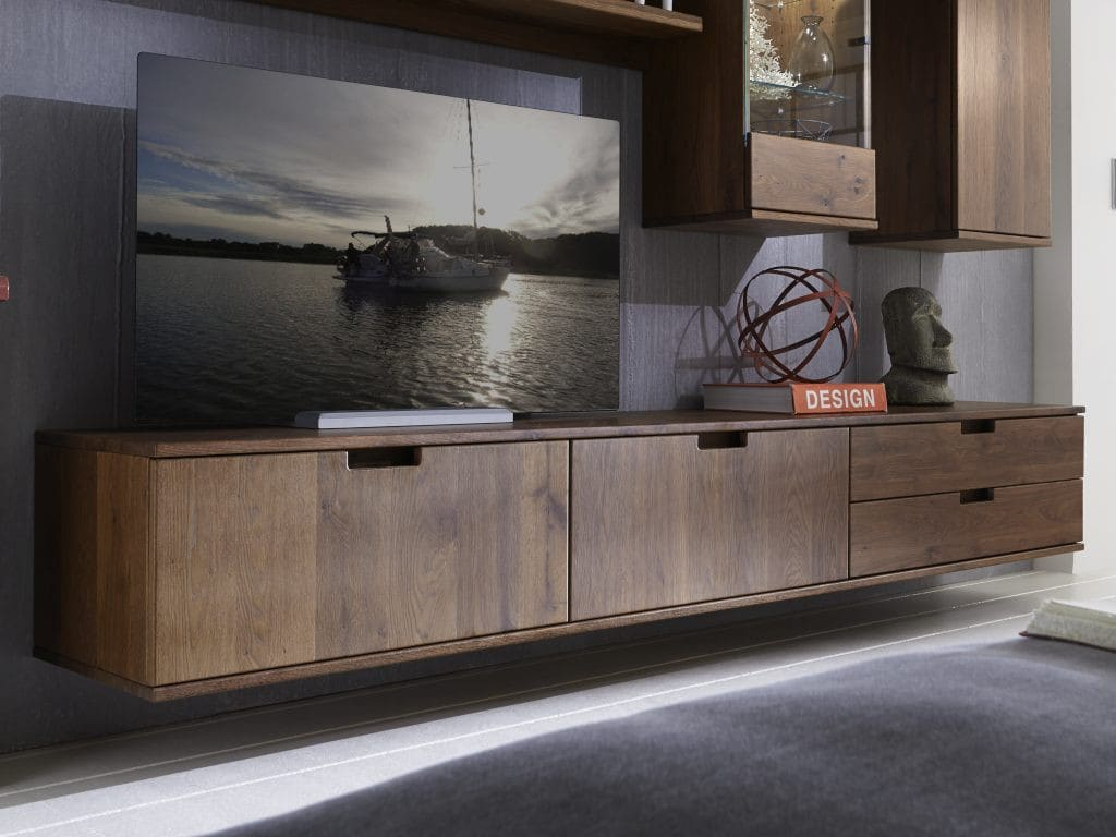 tv lowboard massiv holz mit 2 schubladen und 2 klappen bestellen pickupm. Black Bedroom Furniture Sets. Home Design Ideas