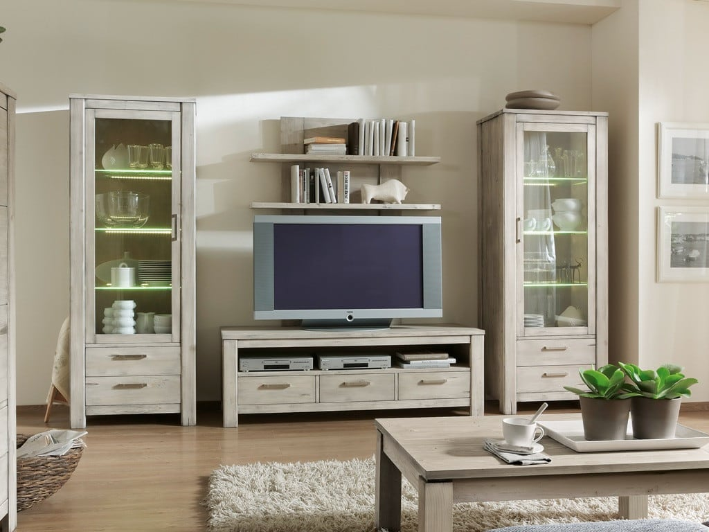 tv wohnwand firenze fichte massiv tundra 4 teilig. Black Bedroom Furniture Sets. Home Design Ideas