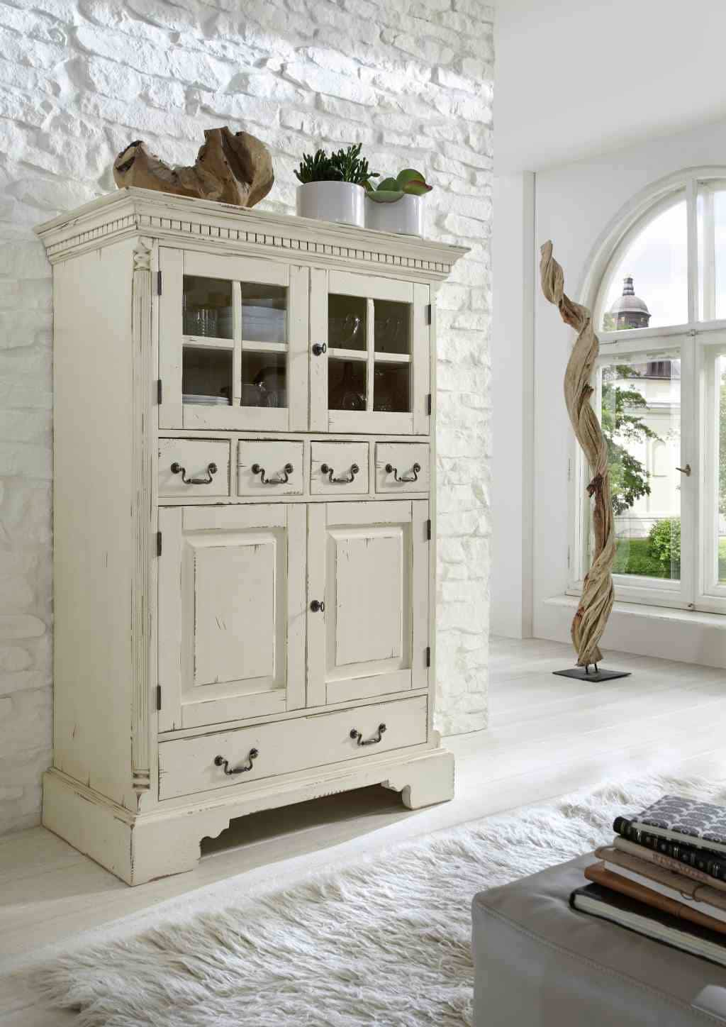 vertiko massiv york shabby chic fichte cremeweiss pick up m bel. Black Bedroom Furniture Sets. Home Design Ideas