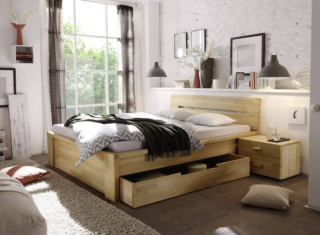 schubladen bett kernbuche massiv 140x200 cm pick up m bel. Black Bedroom Furniture Sets. Home Design Ideas