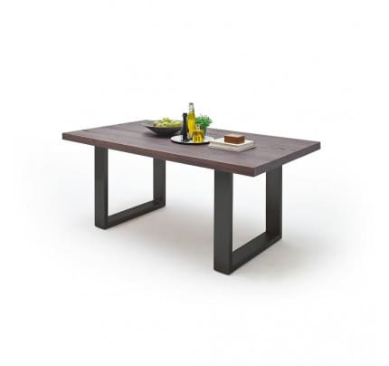 Esstisch Industrial Design Castello Massivholz Eiche 200x100 cm MCA Furniture Kufengestell Anthrazit
