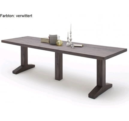 MCA furniture Lunch Esstisch Eiche massiv verwittert 400x120