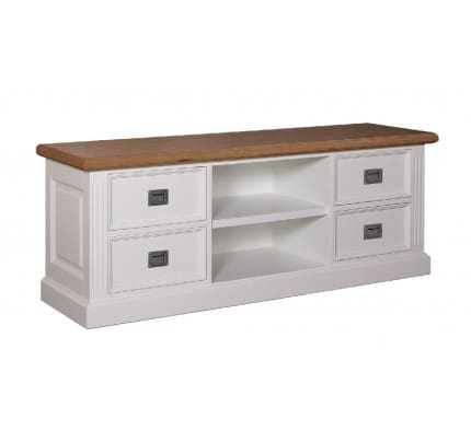 Fernsehkommode Landhausstil York Shabby chic Oak 4 Schubladen