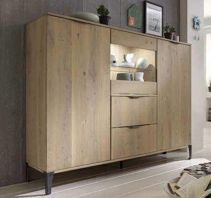 Highboard Sirena massiv Glastür