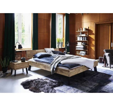 Industrial Design Bett Eiche rustikal Timber Massivholz Stahlfüße Modern Sleep