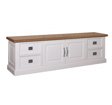 TV-Kommode Landhausstil York Shabby chic Oak 2 Türen 4 Schubladen