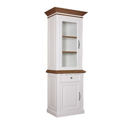 Vitrine Landhausstil York Shabby chic Oak 2x1 Tür 1 Schublade links