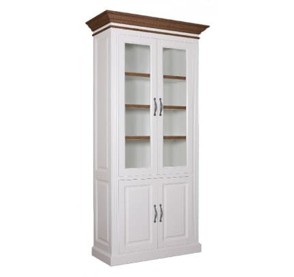 Vitrine Landhausstil York Shabby chic Oak 2x2 Türen