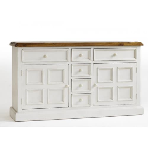 Sideboard Landhaus massiv Kiefer weiss Bodde Shabby Pick-Up-Möbel