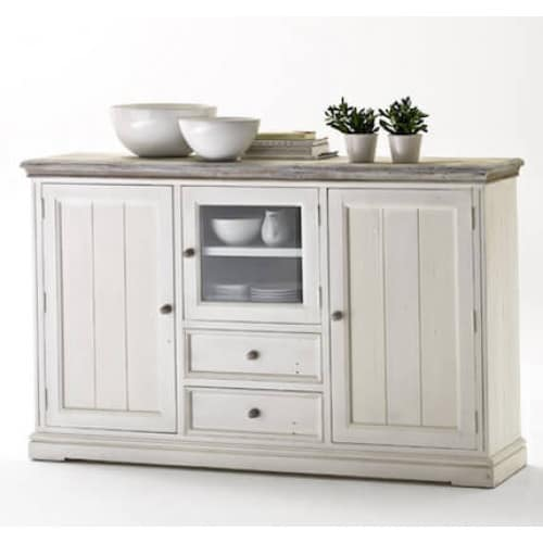 Highboard Kiefer massiv Opus weiss Landhausstil