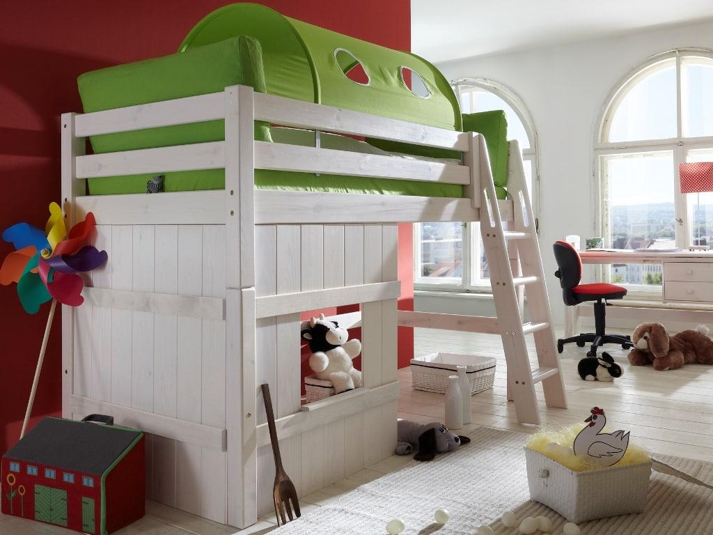 Kinderhochbett Kiefer massiv 90x200cm mittelhoch Pickupmöbel.de