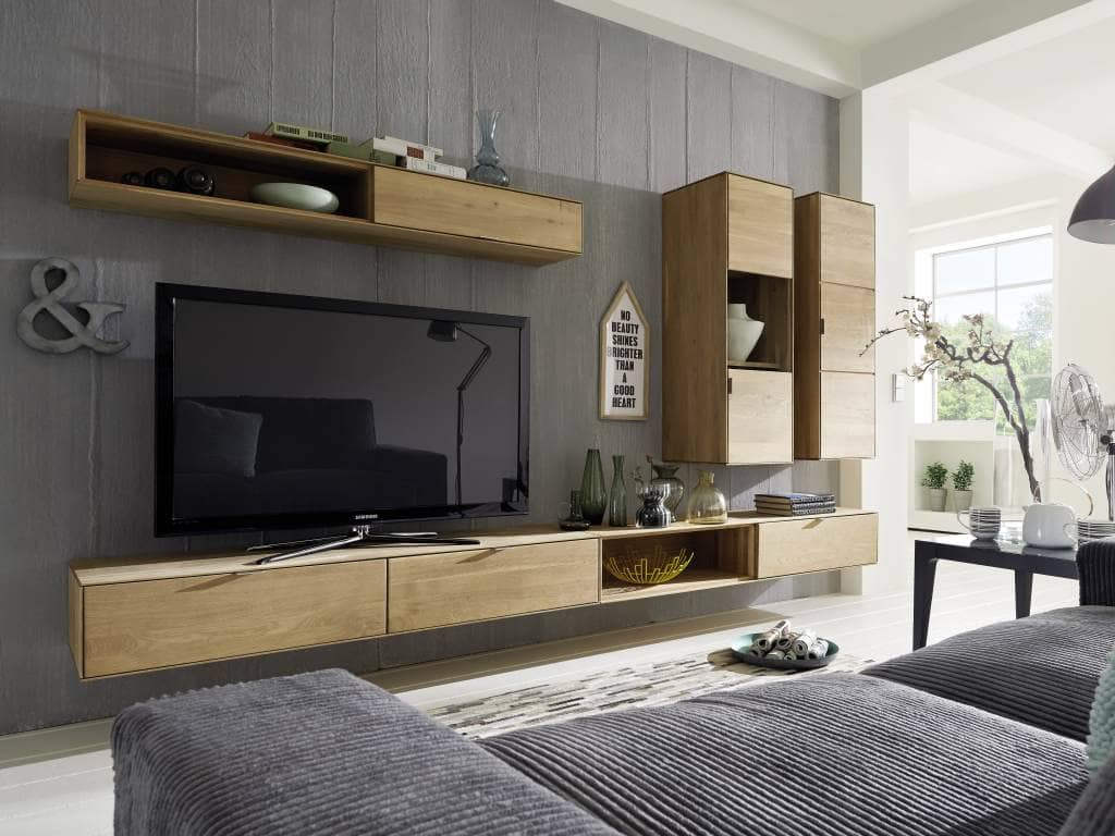 wohnwand modern eiche. Black Bedroom Furniture Sets. Home Design Ideas
